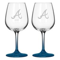Satin Etched MLB Atlanta Braves Wine Glasses (Set of 2)