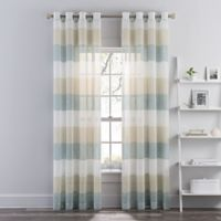 Brix Stripe 108-Inch Sheer Grommet Window Curtain Panel in Blue