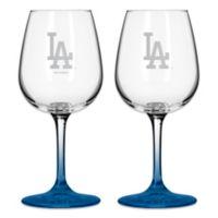 Satin Etched MLB Los Angeles Dodgers Wine Glasses (Set of 2)