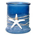Nautical Frosted Glass Candle Holder with Starfish & Rope in Blue