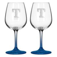 Satin Etched MLB Texas Rangers Wine Glasses (Set of 2)
