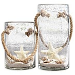 Home Essentials & Beyond Starfish Rope Glass Hurricane Candle Holders (Set of 2)