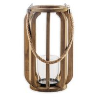 Home Essentials & Beyond Rustic 16-Inch Wood and Glass Hurricane Candle Holder