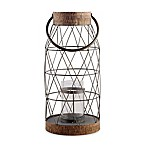 Home Essentials & Beyond Rustic 19-Inch Metal and Cork Hurricane Candle Holder