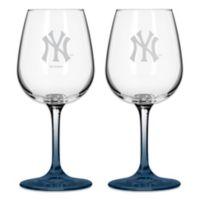 Satin Etched MLB New York Yankees Wine Glasses (Set of 2)