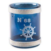 Home Essentials & Beyond Ship Wheel Glass Hurricane Candleholder in Blue