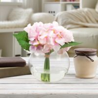Pure Garden Artificial Hydrangea Floral Arrangement in Pink with Glass Sphere Vase