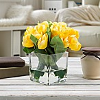 Pure Garden Artificial Tulip Floral Arrangement in Yellow with Glass Cube Vase