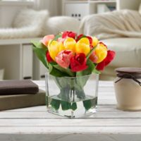 Pure Garden Artificial Tulip Floral Arrangement in Multi with Glass Cube Vase