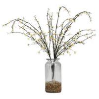D&W Silks White Peach Blossom Branches in Glass Vase