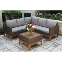 Outdoor Interiors® 4-Piece Wicker and Eucalyptus Patio Sectional Set in Brown/Caramel