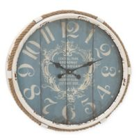 Ridge Road Décor Flourish 25-Inch Round Wall Clock in Distressed Turquoise