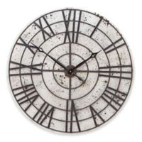 Ridge Road Décor Pitted Round Wall Clock in White with Brown Accents
