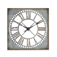 Ridge Road Décor Square Metal Wall Clock in Distressed Grey