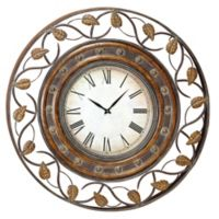 Ridge Road Décor Round Wall Clock with Leaf Fretwork in Bronze