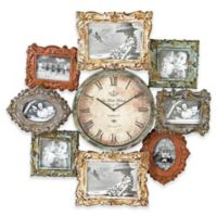 Ridge Road Décor Distressed Multi-Colored Photo Frame Wall Clock