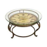 Ridge Road Décor Vintage Round Analog Clock Iron Table in Brown