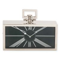 Ridge Road Décor Carriage Table Clock in Silver with Black Accents