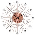 Ridge Road Décor Beaded 20-Inch Copper-Finished Burst Wall Clock