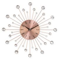 Ridge Road Décor Beaded 15-Inch Copper-Finished Burst Wall Clock