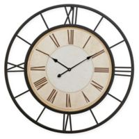 Ridge Road Décor Round Iron Wall Clock in Black and White