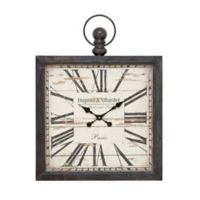 Ridge Road Décor Dupont & Allardet Square Black Wall Clock