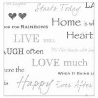 Fine Décor Happy Home Wallpaper in Grey