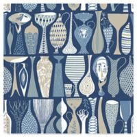 Wall Vision Pottery Folk Wallpaper in Blue