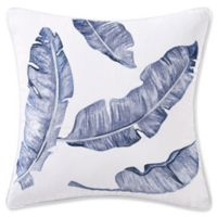 Coastal Life Birds of Paradise Square Throw Pillow in Blue/White