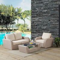 Crosley St. Augustine 3-Piece Resin Wicker Set in Weathered White with Oatmeal Cushions