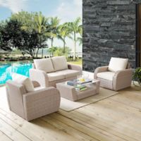 Crosley St. Augustine 4-Piece Resin Wicker Conversation Set with Oatmeal Cushions