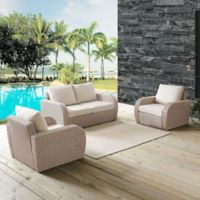 Crosley St. Augustine 3-Piece Resin Wicker Conversation Set with Oatmeal Cushions