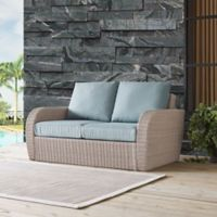 Crosley St. Augustine Resin Wicker Loveseat with Mint Cushions
