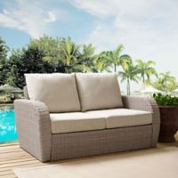 Crosley St. Augustine Resin Wicker Loveseat with Oatmeal Cushions
