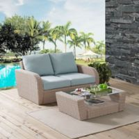 Crosley St. Augustine 2-Piece Patio Set in Weathered White with Mist Cushions