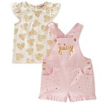 Juicy Couture® Size 6-9M 2-Piece Heart Print T-Shirt and Shortall Set in Pink/Gold