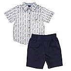 Nautica Size 12M 2-Piece Fish Woven Shirt and Short Set in White/Chambray