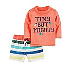 "carter's® Newborn 2-Piece ""Tiny But Mighty"" Rashguard Set in Coral"