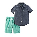 carter's® Newborn 2-Piece Chambray Shirt and Schiffli Short Set in Blue