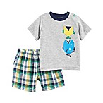carter's® Size 3M 2-Piece Fish T-Shirt and Plaid Short Set in Grey