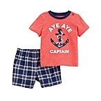 "carter's® Newborn 2-Piece ""Aye Aye Captain"" Shirt and Short Set in Coral"