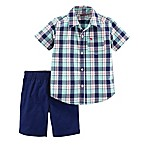 carter's® Newborn 2-Piece Plaid Shirt and Short Set in Navy/Mint