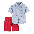 carter's® Size 12M 2-Piece Oxford Schiffli Shirt and Woven Short Set