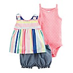 carter's® Size 9M 3-Piece Striped Top, Bodysuit and Diaper Cover Set