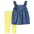 carter's® Size 9M 2-Piece Flutter-Sleeve Chambray Top and Floral Legging Set