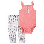 carter's® Size 3M 2-Piece Flutter Sleeve Bodysuit and Floral Pant Set in Coral