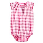 OshKosh B'gosh® Size 6M Gingham Ruffle Sleeve Bodysuit in Pink