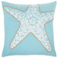 Starfish Square Throw Pillow Cover in Spa