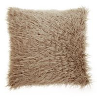Make-Your-Own-Pillow Simon Faux Fur Square Throw Pillow Cover in Taupe