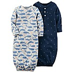 carter's® 2-Pack Whale Long Sleeve Sleeper Gowns in Navy